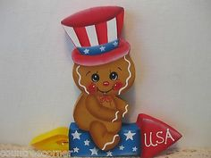 HP Gingerbread firework Patriotic ginger Shelf Sitter hand painted