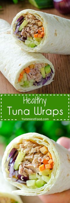 Recipes Easy Healthy Tuna Wraps - This tasty recipe will satisfy your appetite! So delicious and low in calories! For 10 minutes you can make so healthy, easy and tasty recipe - Healthy Tuna Wraps! Healthy Wraps, Healthy Snacks, Healthy Eating, Healthy Tasty Recipes, Diet Snacks, Healthy Tortilla Wraps, Healthy Skin, Veggie Snacks, Veggie Wraps