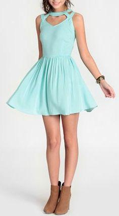 Mint cut out dress