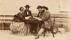 """""""La partida de cartas"""" (1860). Obra de Olimpio Alejandro Aguado (1827-1894). Colección privada.  """"The card game"""" (1860). Work by Olimpio Alejandro Aguado (1827-1894). Private collection."""