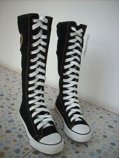 I found 'Women Girl Punk EMO Rock Gothic zip Lace up Canvas boot shoe sneaker knee high' on Wish, check it out!