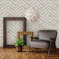 herringbone ash textured wallpaper - removable + self-adhesive - perfect solution for high-impact decorating without a long-term commitment