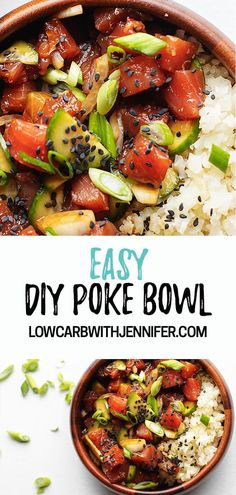 DIY Ahi Tuna Bowls An easy no fuss poke bowl recipe straight from Hawaii. - DIY Ahi Tuna Bowls An easy no fuss poke bowl recipe straight from Hawaii. It's a little spicy if - Tuna Recipes, Salmon Recipes, Seafood Recipes, Cooking Recipes, Healthy Recipes, Hawaii Food Recipes, Vegetarian Cooking, Cooking Ideas, Gastronomia