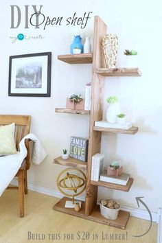 Build this unique Open Shelf for only $20 in lumber!  Free plans and picture tutorial at MyLove2Create.