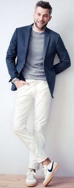 Blazer and sneakers