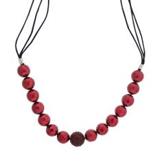 """Amazon.com: Sterling Silver Burgundy Shell Pearl and Crystal Fireball Frontal Necklace, 18 + 3"""": Jewelry"""