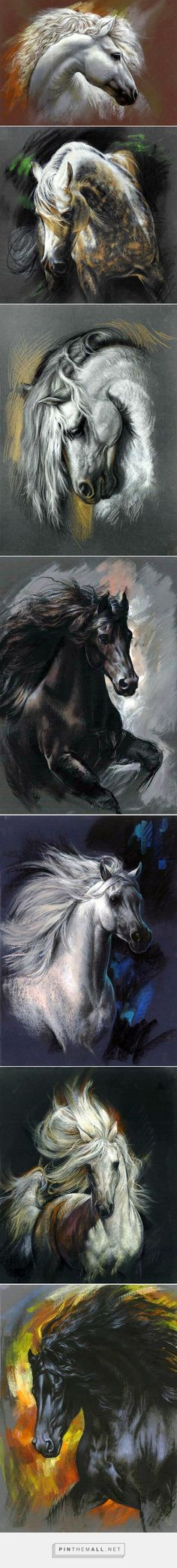 """Digital """"paintings"""" by Zorina Baldescu. - a grouped images picture - Pin Them All Horse Drawings, Animal Drawings, Pretty Horses, Beautiful Horses, Horse Artwork, White Horses, Tier Fotos, Equine Art, Horse Pictures"""
