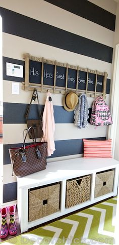 Super Cute Striped wall for the Mudroom with customizable chalkboard paint! |www.decorchick.com