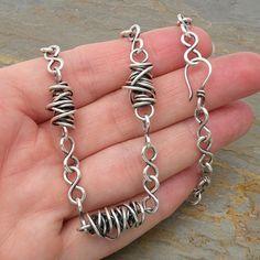 Sterling Silver Necklace Wirework Thick Twistie by CarolBradley, $152.00