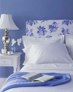 Blue, white and silver country style bedroom. Guest bedroom in basement Periwinkle Bedroom, Blue Bedroom, Trendy Bedroom, Bedroom Colors, Bedroom Decor, Periwinkle Blue, Bedroom Ideas, White Bedrooms, Color Blue