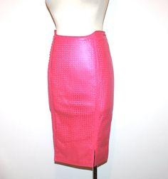 Vintage GIANNI VERSACE Leather Skirt Pink by StatedStyle on Etsy, $575.00