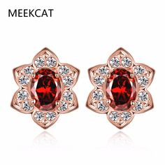 MEEKCAT  Princess Diana William Kate Middleton's 1.3ct Natural Garnet Halo Stud Earrings Solid Rose Gold Color Jewelry d'oreille #Affiliate