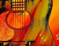 Abstract Guitar Sunset Giclee Print Orange Yellow Music Instrument Digital Art Wall Decor 8 x 10