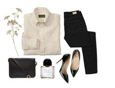 """Collared Shirt / Skinny Jeans / Business Casual"" by littlefairies ❤ liked on Polyvore featuring Paige Denim, Christian Louboutin, Byredo and Sophie Hulme"