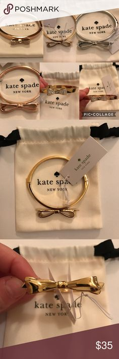 Kate Spade bangle bracelets Selling multiple Kate Spade bangle bracelets new with tags and duster bag!     Please comment which one you would like I have: Gold bow, Silver bow, Rose Gold bow,  and the other style is smaller studded bow in Gold or Rose Gold. kate spade Jewelry Bracelets