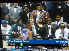 This is an amazing snapshot of 1992 pop culture.  You have basketball players Charles Oakley, Patrick Ewing & Dikembe Mutombo (and coach Donny Nelson) you have hip hop artists Jazzy Jeff & The Fresh Prince -- in his colorful jacket, to boot.  And then you have Alfonso Ribeiro (aka Carlton from Fresh Prince of Bel Air) along with MC Hammer.  Oh so 90's.