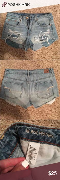 American eagle high rise festival shorts American eagle high rise festival light was ripped shorts. Super comfy and cute! Perfect condition, bought last year but too big for me. Work a few times but still in mint condition. Matches everything and very stylish! Size 8. American Eagle Outfitters Shorts Jean Shorts