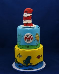 Cat in the Hat  Book theme Cake