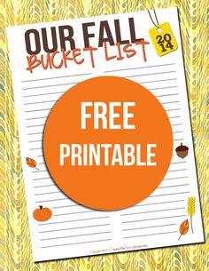 Free Fall Bucket List Printable with ideas
