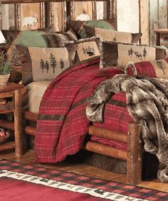 Highlands Cabin Bedding  Create a classic cabin look with the Highlands Cabin Bedding Collection featuring woven red plaid complemented by embroidered tan chenille, riveted faux leather and olive and chocolate microfiber suede. Bed sets include comforter, bedskirt, two Euro shams, two shams and one neckroll. The Highlands Cabin Bedding Collection is available in Queen and King