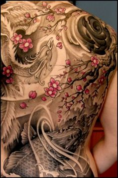 Japanese tattoo - dragon, koi, sakura cherry blossoms & waves