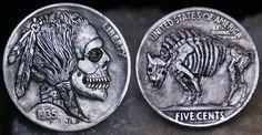 1935 Hobo Nickel - Indian Skull & Buffalo Skeleton (hand carved)