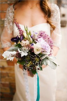 rustic purple wedding bouquet by Amber Dickson