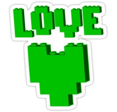 """""""LOVE"""" in brick font with Brick Heart by Customize My Minifig by ChilleeW"""