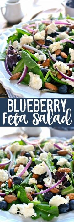 This Blueberry Feta Salad is your new go-to salad for spring! It combines fresh blueberries with feta cheese, almonds, and a lemon poppyseed vinaigrette. Perfect for a baby shower or Easter celebration ... #Salad #SaladDressing #Recipe #Food