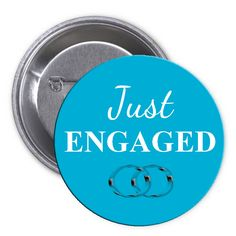 Just Engaged Blue Pinback Button Bachelorette Party Supplies, Just Engaged, Buttons, Engagement, Blue, Engagements
