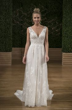 Sottero and Midgley Lace V-Neck Sleeveless A-Line Wedding Dress Fall 2018 | Brides