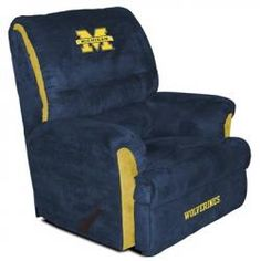 Michigan Wolverines Recliner w Navy and Gold Team Colors