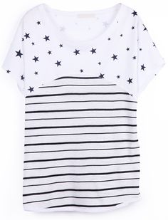 Black White Striped Short Sleeve Stars Print T-Shirt - Sheinside.com