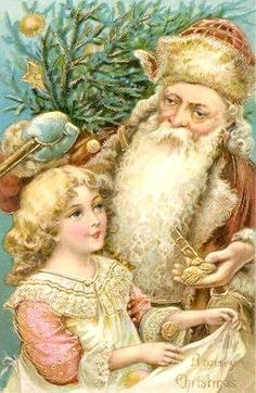 Brown Santa and little girl.