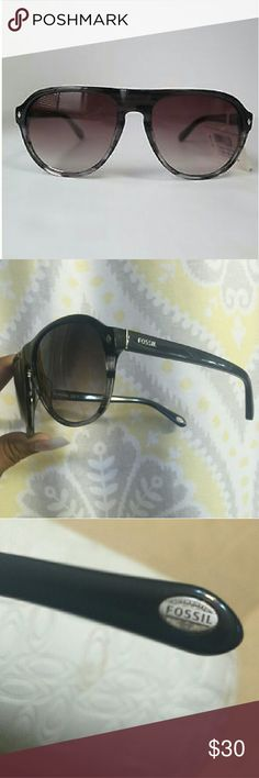 Fossil Aviator Sunglasses Tortoise design black grey white as shown  in picture has smoky mid purple mid grade  a must have for your closet!! Fossil Accessories Glasses