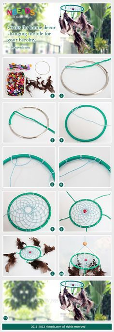 atrapasueños paso a paso - crafts for home decor-hanging mobile for your bacolny Crafts To Do, Decor Crafts, Arts And Crafts, Dream Catcher Mobile, Dream Catchers, Los Dreamcatchers, Crochet Dreamcatcher, Hanging Mobile, Diy Hanging