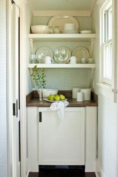 Southern Living - kitchens - kitchenette, bedroom kitchenette, kitchenette in bedroom, stacked shelve, s ivory shelving, mini fridge, panele...