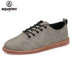 052e5ab21 US $53.9 |AQUATWO Oxford Shoes For Men Zapatillas Hombre Casual Artificial  Leather Lace Up Flat Loafers Oxford Leather Shoes Men Hot Sale-in Oxfords  from ...