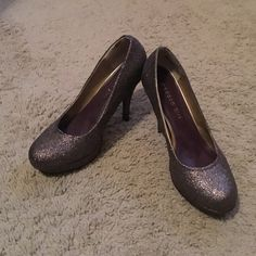 SALE Madden Girl sparkle heels They almost have a purple tint to them. Super cute tall heels, the heel is 4 inches tall. Madden Girl Shoes Heels