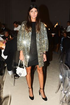 Giovanna Battaglia wearing a coat from S/S 2013 collection and a Baguette bag