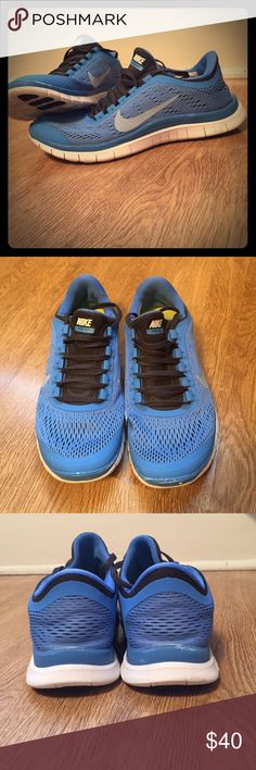 NIKE FREE 3.0 Nike free run 3.0 sneakers. Bright blue with black laces. There are a few scuff marks but nothing is ripped or torn. They are still in great condition. Nike Shoes Athletic Shoes