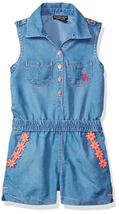 US Polo Assn Toddler Girls Tencel Denim Romper Light Wash 2T ** Click on the image for additional details.Note:It is affiliate link to Amazon.