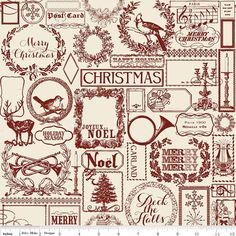 Christmas Main Red C4000-Red Lost & Found Christmas Collection by My Mind's Eye for Riley Blake Designs 1/2 YARD