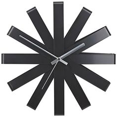 "Ribbon Black 12"" Round Wall Clock"