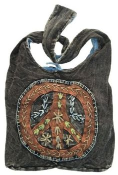 Amazon.com: Peace Sign Embroidered Stonewashed Sling Bag: Shoes  I could do this, but prettier!  Brighter colors....