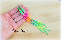"<b>7</b>""Super Long NEON Shoulder Duster Earrings~Seed Beaded ..."