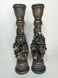 Tall two candlesticks Vase Crafts, Clay Crafts, Bottle Art, Bottle Crafts, Candle Stand, Candle Holders, Clay Flowers, Flower Vases, Painted Candlesticks