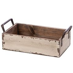 """Skalny Rectangle Wood Tray with Side Handles, 9.5"""" x 5.5"""" x 2.75"""""""