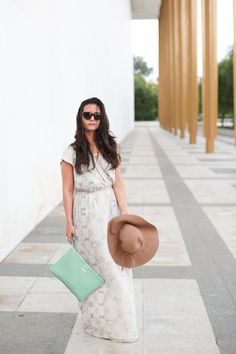 camel hat with maxi dress