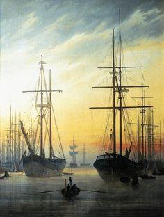 """""""Vista de un puerto"""" (1815-1816). Caspar David Friedrich (Alemania, 1774-1840)."""